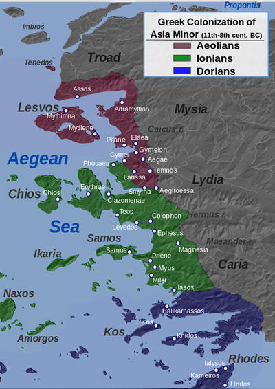 Greek cononies ruled by Darius