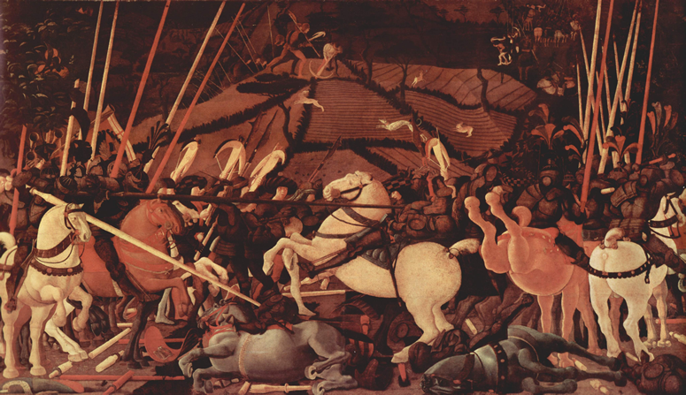 Painting of a condottieri battle by Paolo Uccello