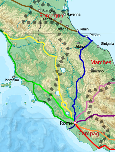 The Romagna region of the Papal States
